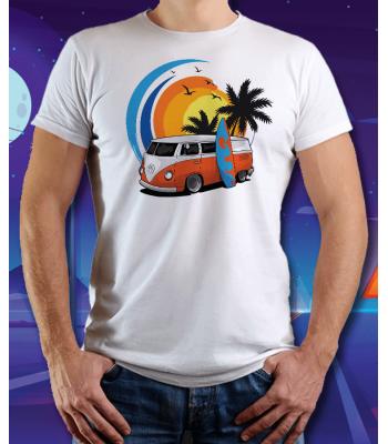 Biele tričko VOLKSWAGEN BUS (BEACH)
