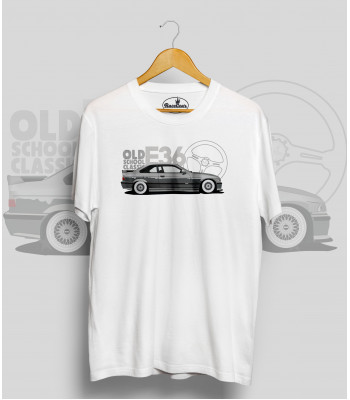 Biele tričko BMW e36 silver (OldSchoolClassic)