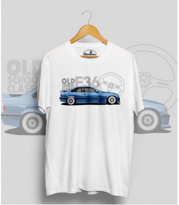 Biele tričko BMW e36 blue (OldSchoolClassic)