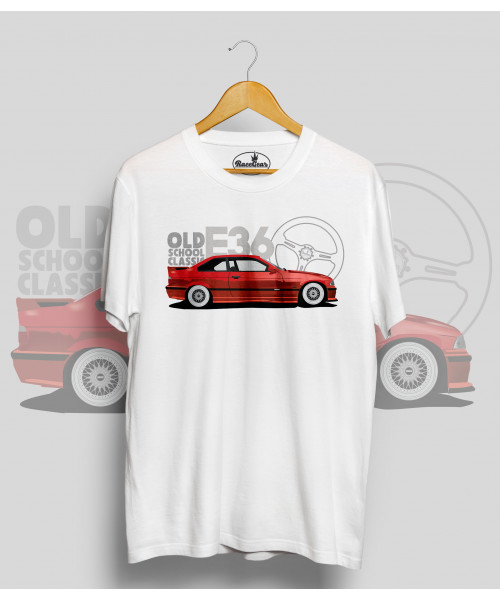 Biele tričko BMW e36 red (OldSchoolClassic)