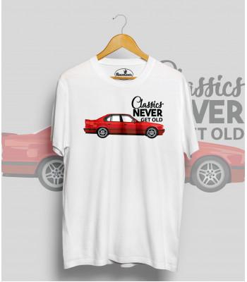 Biele tričko BMW e34 red (Classics never get old)
