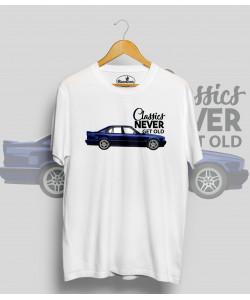 Biele tričko BMW e34 blue (Classics never get old)