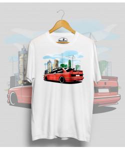 Biele tričko BMW e30 M3 red city